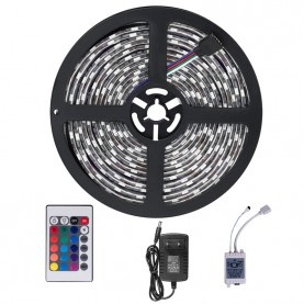 Ruban LED Étanche IP65 3528 RGB Multicolore 60 LED par Mètre  - Kit Complet