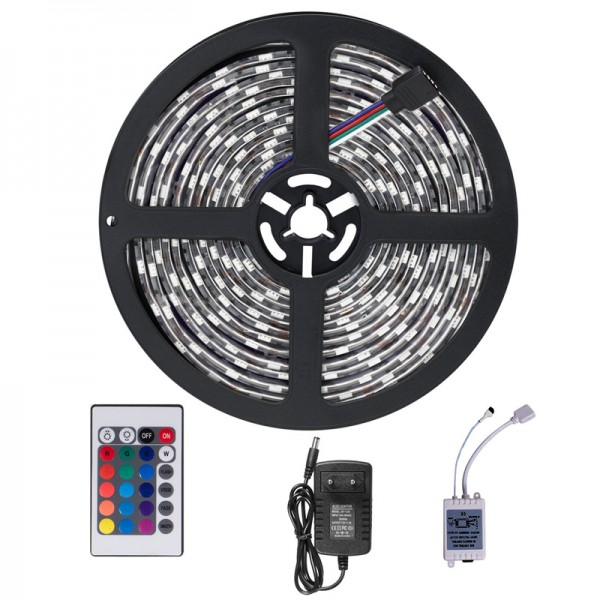 Ruban LED Étanche Professionnel 5M 3528 RGB Multicolore 300 LED - Kit Complet