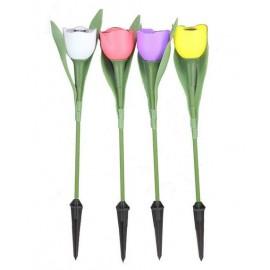 Ensemble de 4 Lampes LED Rechargeables de Jardin en Forme de Tulipe