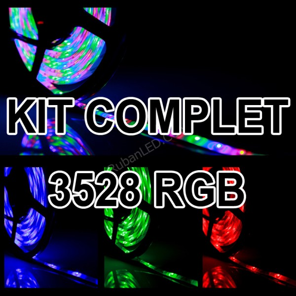 Ruban LED RGB 3528 - 60LED/M - IP65 - Kit Complet