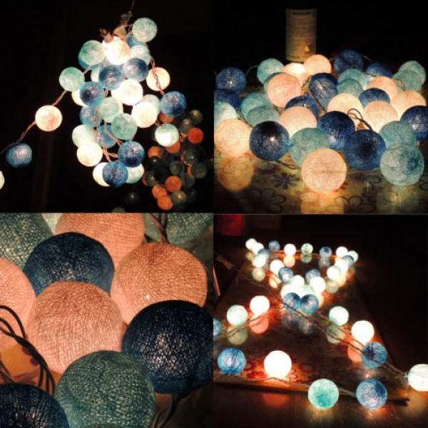 Boules de Coton Décoratives avec Ampoules LED